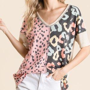 Leopard Print pop of color V neck Thermal Top